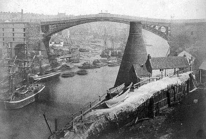 19th century view of the old wearmouth bridge and a bottleworks