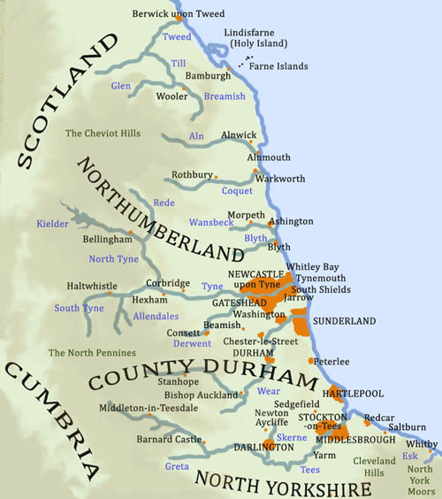Map Of England Durham.England S North East The History Pages For Northumberland Durham